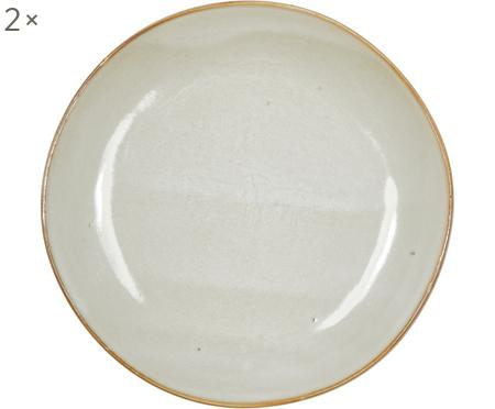 Set van 2 handgemaakte keramische ontbijtborden Thalia in beige