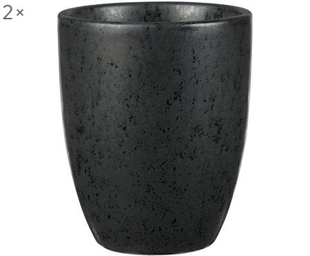 Keramische bekers Stone met Sprenkel-Glasur, 2 stuks