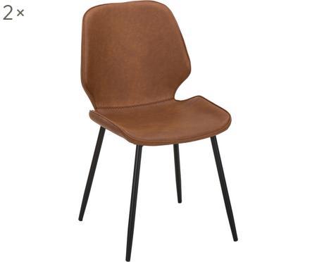Imitatieleren gestoffeerde stoelen Louis, 2 stuks