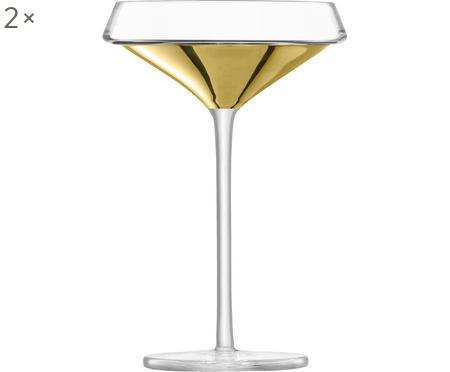 Mondgeblazen champagneglazen Space met gouden detail, 2-delig