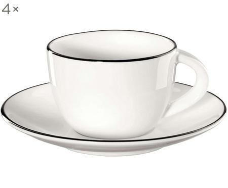 Espresso kopjes met schoteltjes á table ligne noir met zwarte rand, 4 stuks