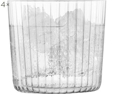 Mondgeblazen waterglazen Gio met groefstructuur, 4 stuks