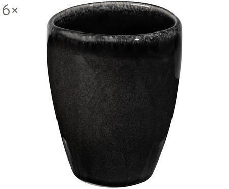 Handgemaakte beker Nordic Coal van keramiek, 6 stuks