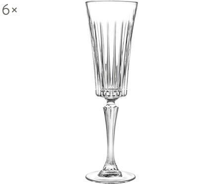 Kristallen champagneglazen Timeless met groefreliëf, 6 stuks