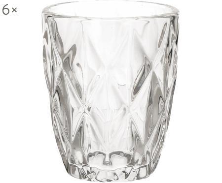 Waterglazenset Diamond met structuurpatroon, 6-delig