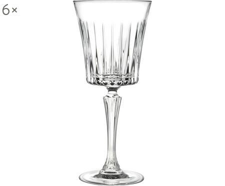 Kristallen witte wijnglazen Timeless met groefreliëf, 6 stuks