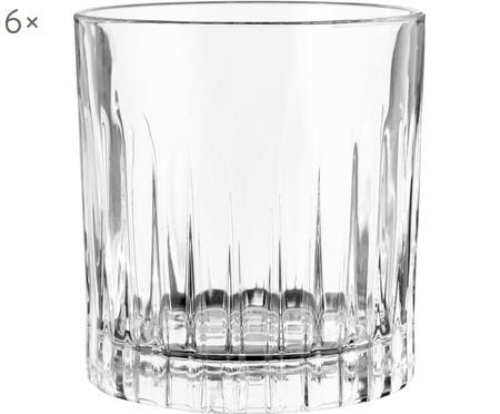 Kristallen glazen Timeless met groefreliëf, 6 stuks