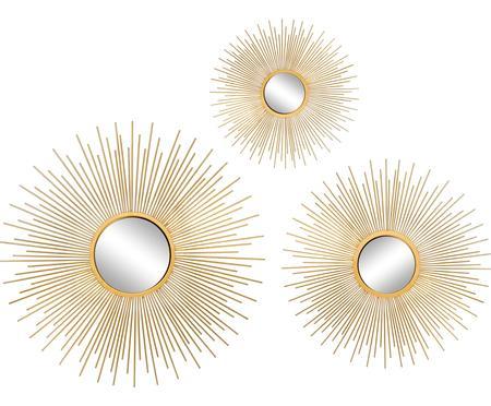 Wandspiegelsset Sun met goudkleurige lijst, 3-tlg