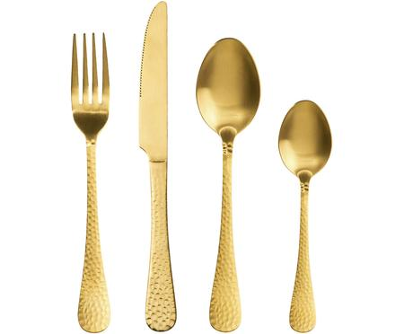 Goudkleurige bestekset Baronet met gehamerde handvatten, 4-delig