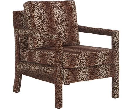 Fluwelen fauteuil Claudette met bruin luipaardpatroon