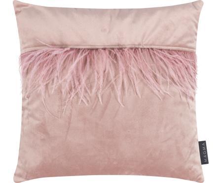Fluwelen kussenhoes Ostrich in roze met veren