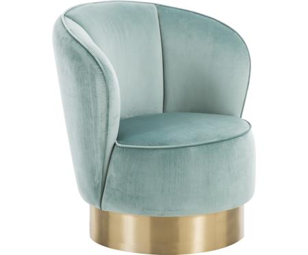 Fluwelen fauteuil Olivia in saliekleur