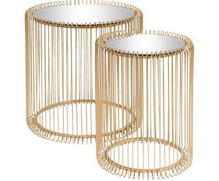 Metalen bijzettafel Wire met glazen tafelblad, 2-delig