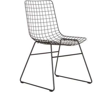 Metalen stoel Wire in zwart