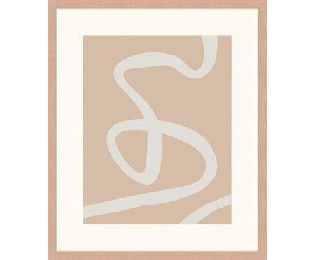 Ingelijste digitale print Abstract Beige Drawing