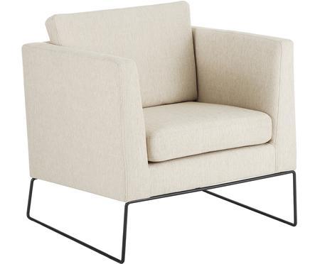 Klassieke fauteuil Milo in beige met metalen poten