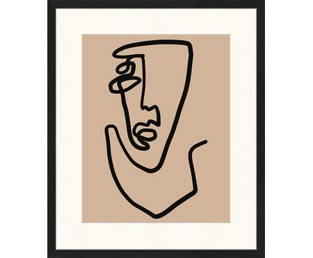 Ingelijste digitale print Abstract Face