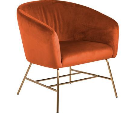 Moderne fluwelen fauteuil Ramsey in koperkleurig