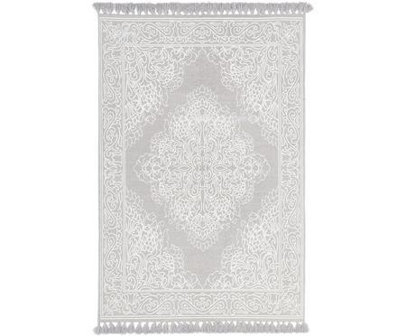 Hangeweven katoenen vloerkleed Salima met patroon en kwastjes