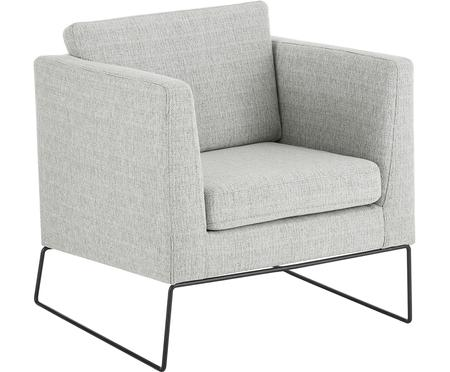 Klassieke fauteuil Milo in grijs met metalen poten