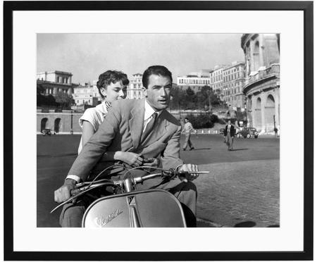 Ingelijste fotoprint Roman Holiday with Peck and Hepburn