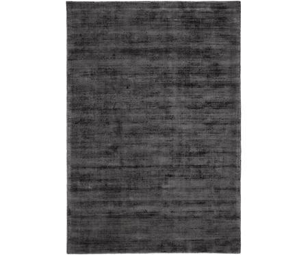 Handgeweven viscose vloerkleed Jane in antraciet-zwart