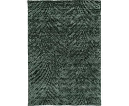 Handgetuft viscose vloerkleed Bloom in donkergroen met patroon