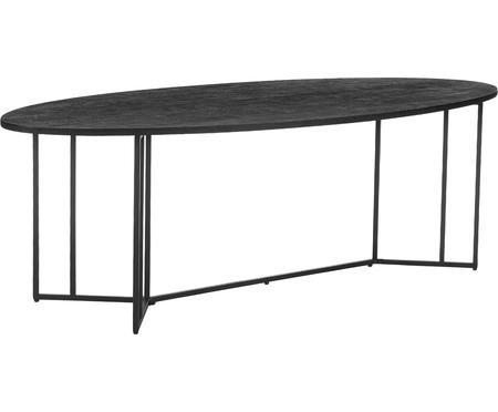Ovale massief houten eettafel Luca in zwart