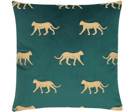 Geborduurde fluwelen kussenhoes Cheetah in groen/goudkleur