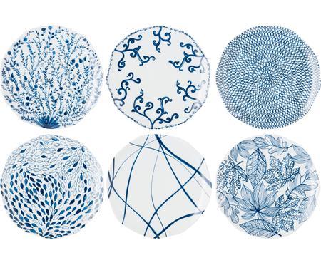 Set van 6 dessertborden met patroon Vassoio in wit/blauw