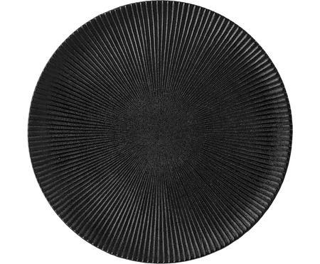 Dinerbord Neri met groefstructuur in mat zwart