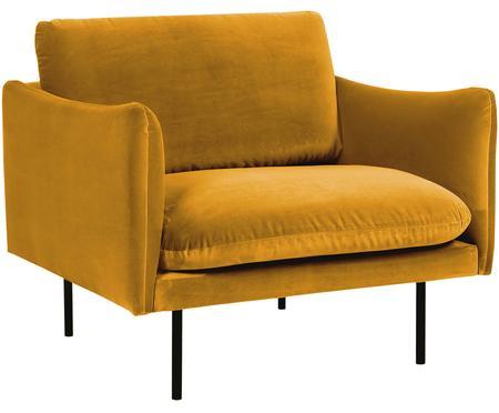 Fluwelen fauteuil Moby in mosterdgeel met metalen poten
