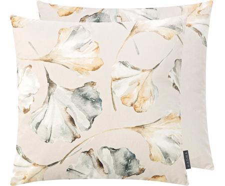 Dubbelzijdige fluwelen kussenhoes Flores met ginkgo-print