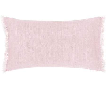 Linnen kussenhoes Luana in roze met franjes