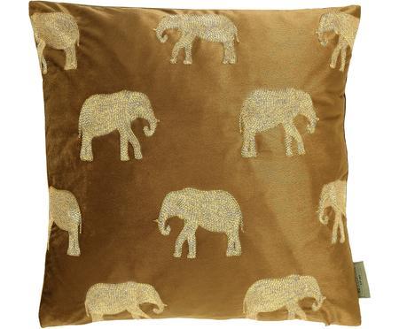 Goudkleurig geborduurd fluwelen kussen Elephant in bruin, met vulling