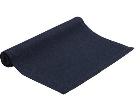 Tafelloper Riva van katoenmix in donkerblauw