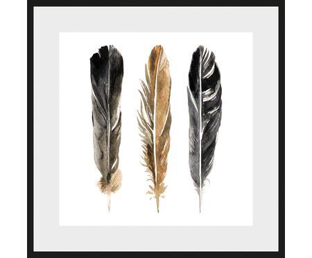 Ingelijste digitale Three Feathers