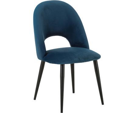 Fluwelen stoel Rachel in donkerblauw