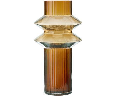 Transparante glazen vaas Rilla met een amberkleurige glans