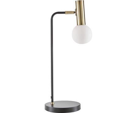 Grote tafellamp Wilson met glazen lampenkap