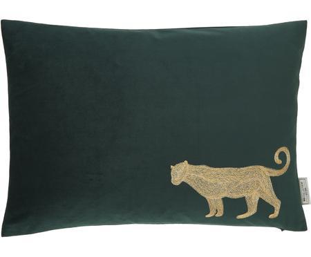 Geborduurd fluwelen kussen Single Leopard in groen/goudkleur, met vulling