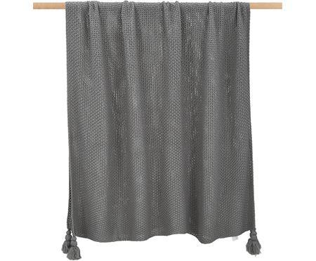 Gebreide deken Lisette in grijs met kwastjes
