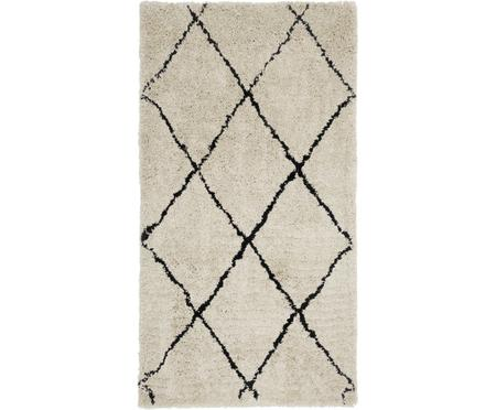 Pluizig hoogpolig vloerkleed Naima, handgetuft