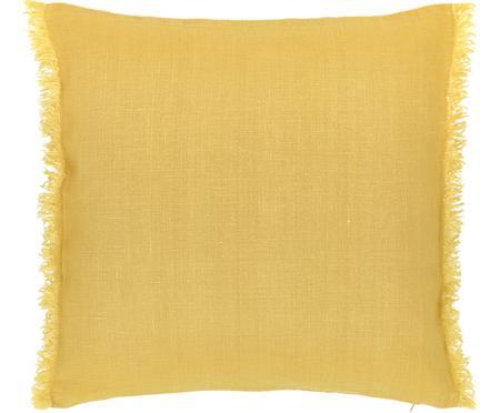 Linnen kussenhoes Luana in geel met franjes
