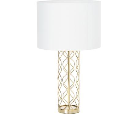 Grote tafellamp Adelaide in wit-goudkleurig