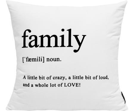 Kussenhoes Family in zwart/wit met opschrift