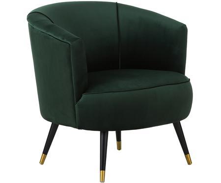 Fluwelen fauteuil Ella in groen