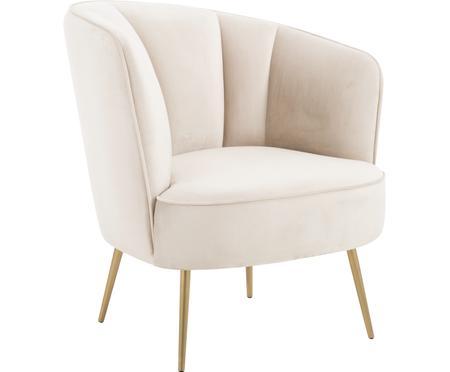 Fluwelen fauteuil Louise in beige