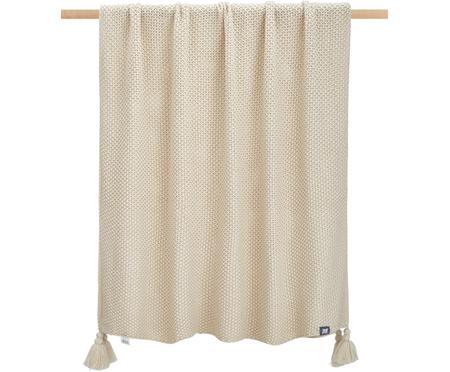 Gebreide deken Lisette in beige met kwastjes