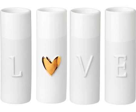 XS vazenset Love van porselein, 4-delig